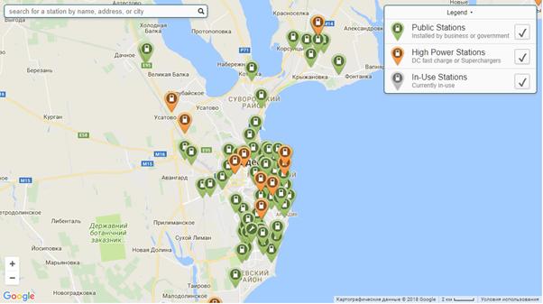 Станции для зарядки электромобилей г. Одесса